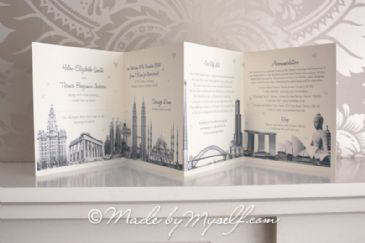 Travel theme Wedding Invitation - Concertina